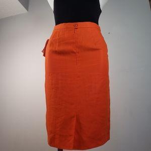 Escada 100% linen orange pencil skirt